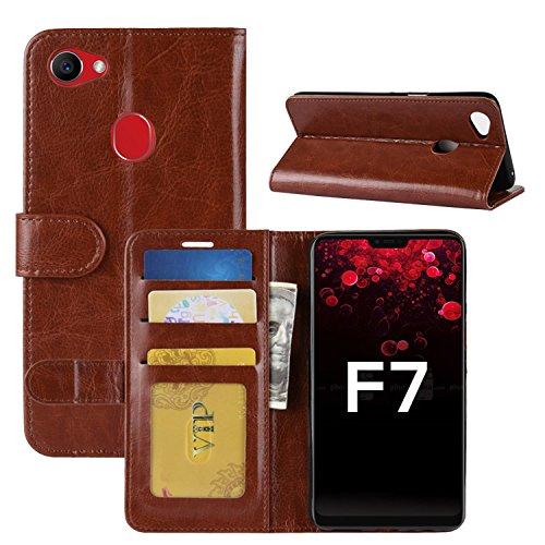 HualuBro Oppo F7 Hülle, Retro PU Leder Leather Wallet HandyHülle Tasche Schutzhülle Flip Case Cover mit Karten Slot für Oppo F7 Smartphone - Braun