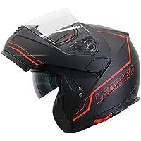Leopard LEO-838 Safari Double Visor Modular Flip up front Motorcycle Motorbike Helmet Road Legal - Matt Black/Red S (55-56cm)
