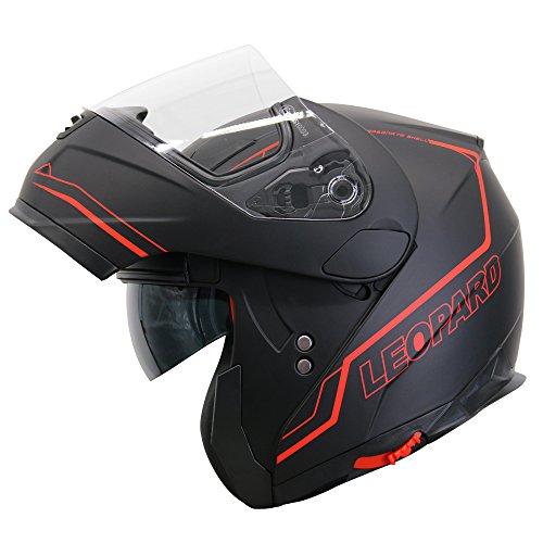Leopard LEO-838 Safari Fullface Helm Klapphelm Jethelme Motorrad Roller mit Doppelvisier Motorradhelm Damen und Herren Integralhelm ECE Genehmigt Schwarz Rot L (59-60cm)
