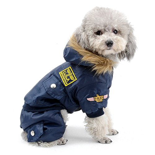 SELMAI Pegasus Kleiner Hund Bekleidung für Mädchen Jungen Airman Fleece Winter Fell Schneeanzug mit Kapuze Overall wasserdicht Blau S -