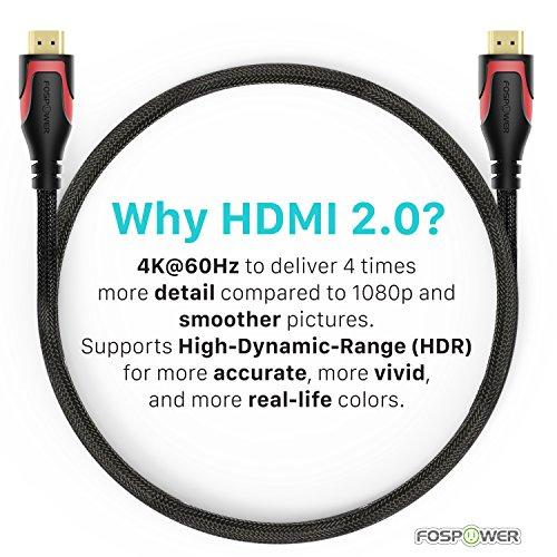 fospower hdmi  Cavo HDMI 0.3M/1ft - 2 Pack, Cavo FosPower nylon intrecciato HDMI ad ...