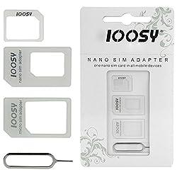 Noosy 3 in 1 (Nano-SIM auf Micro-SIM-Karte + Micro-SIM-Karte auf Standard + Nano-SIM-Karte zur Standard-) Adapter Kit für alle Smartphones / Apple / Samsung / Sony / HTC / Nokia / etc.