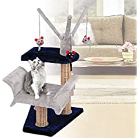 Cat Lounger with Play Tree and Bamboo Post, Navy/Gray - 16 x 16 x 23 Inches (WxDxH)