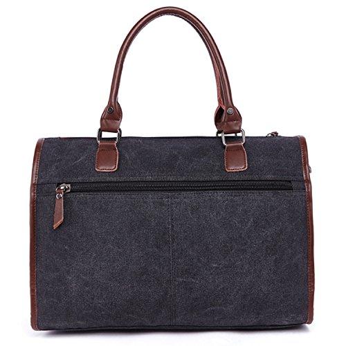 Outreo Handtasche Kuriertasche Herren Aktentasche Herrentaschen Umhängetasche Freitag Vintage Schultertasche Retro Messenger Bag Laptop Taschen für Reisetasche Canvas Schwarz