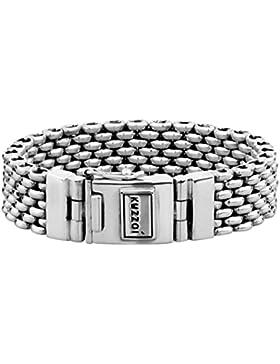 KUZZOI Silberarmband Herrenarmband aus massivem 925er Sterling Silber, Breite 18 mm, 335107