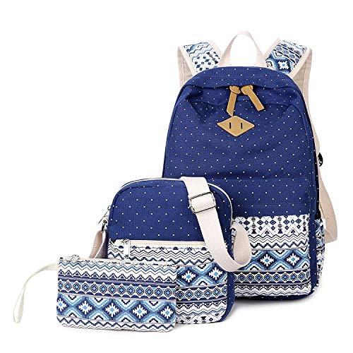 Schulrucksack Dreiteiliger Canvas Rucksack Polka Punkt Boho Floral Bedruckt Schulranzen für Mädchen Jugendliche Laptopfach mit Umhängetasche und Handtasche Schule Camping