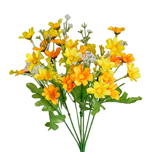 Seide Sonnenblumen Faux (Künstliche Seidenblumen 28Köpfe Fake Daisy Blume für Hochzeit Home Dekoration Rose gelb)