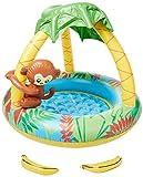 Jilong Monkey Pool Ø 100 x 80 cm Kinderpool mit aufblasbarem Boden Planschbecken mit Sonnenschutz-Dach Schwimmbecken Kinder Schwimmbad für Garten und Terasse