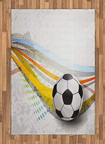 ABAKUHAUS Teen Zimmer Teppich, Fußball-Fußball-Linien, Deko-Teppich Digitaldruck, Färben mit langfristigen Halt, 120 x 180 cm, Mehrfarbig (Zimmer Teppiche Für Teens)