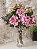 1x artificiale Peony Fiore artificiale per la decorazione domestica senza vaso & Basket, 1bunch di fiore, rosso Ruber