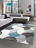 Carpetia Designer Teppich Wohnzimmerteppich Kurzflor Tropfen türkis grau blau Größe 120x170 cm