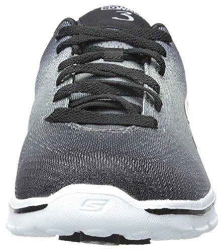 Skechers Go Walk 3Pulse, Baskets Basses Femme, Various Noir - Noir/blanc