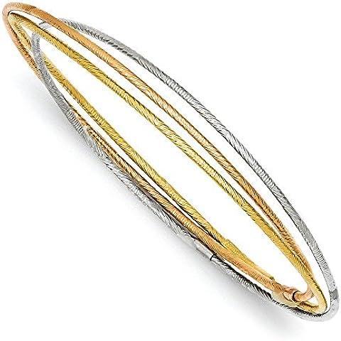14K Tri-color Oro Diamante 3intrecciati braccialetti