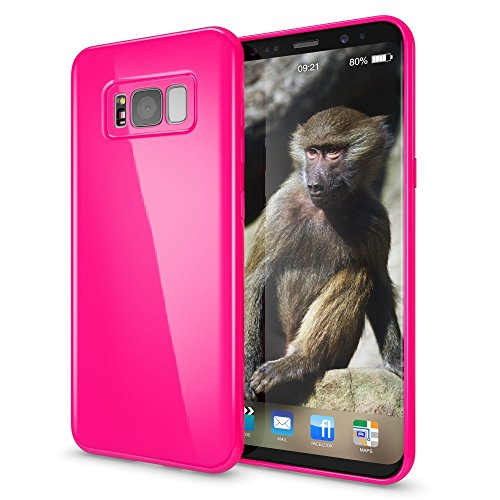 NALIA Handyhülle kompatibel mit Samsung Galaxy S8, Jelly Case Schutzhülle Ultra-Slim Silikon Back-Cover, Dünne Gummi Hülle Handy-Tasche Schale, Smart-Phone Bumper Skin Etui, Farbe:Pink Pink Gummi Case