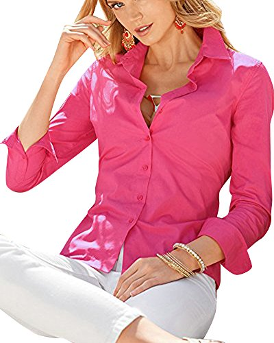 SaiDeng Donna Monopetto Colore Puro Manica Lunga Slim Fit Camicia Rose