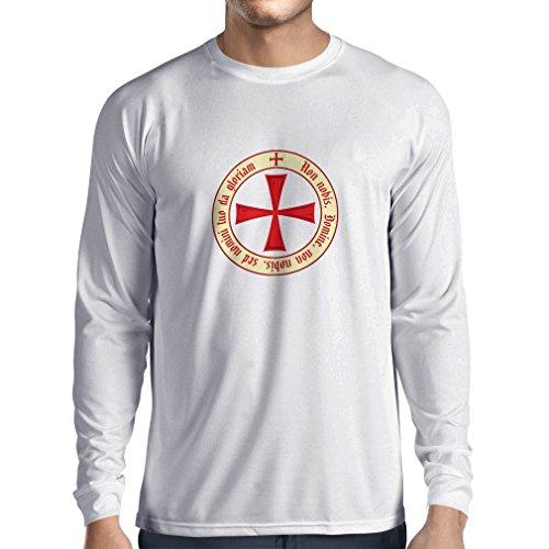 T-Shirt mit langen Ärmeln Tempelritter Templer Orden T-Shirt (Knights Templar) für Herren mit Tatzenkreuz Ordo Red (Small Weiß Mehrfarben) (Van Helsing Film Kostüme)