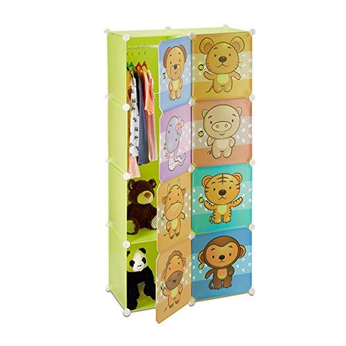 Relaxdays 10021965 scaffale componibile per cameretta bambini, con ante e bastone appendiabiti, disegno animali, colorato