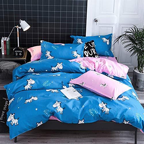 UOUL Bettwäschesatz Baumwolle 4 Stück 2 Kissenbezüge + 1 Bettbezug + 1 Bettzeug Verblasst Nicht Komfort Schlafzimmer Jugend Kinder Twin Double,Zebra,Twin (Blau Zebra Tröster Twin)