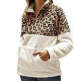 TEFIIR Sweatshirt Plüschpullover mit Leopardenmuster Damen Lang Pullover Freizeit Sport Hoodies Lose Tops Geeignet für Freizeit, Urlaub und Dating