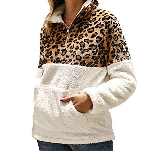 Rifuli,Damen Herbst Winter Leopard Herbst Winter Imitat Lange HüLsen BeiläUfige Strickjacke Oberseiten Bluse Der Frauen Warmer Pullover