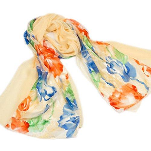 EOZY Echarpe Châle Foulard pour Femme Chiffon Impression Floral Multicolore P