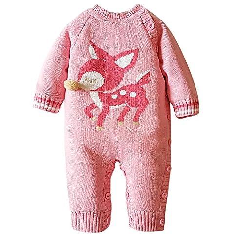 ZOEREA Unisex Neugeborenes Baby Romper Stricken Strampler Lange Ärmel Watte