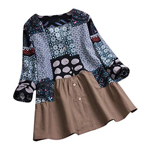 TEBAISE Damen Sommer Herbst Elegante Frauen Leinen Floral Printed Langarm Beiläufig Täglichen Party Workout Tunika Swing Tops Shirt Bluse ()