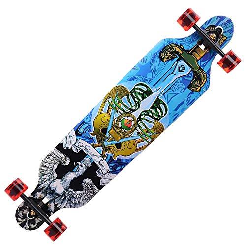 Longboard Skateboard Cruiser 41 Zoll Komplettes Maple Double Kick Allrad Skateboard für Adult Brush Street/Dance Board- # 1