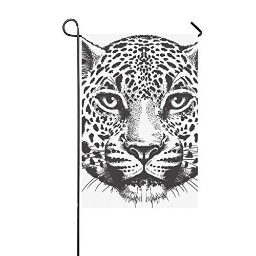 Jochuan home decor nero bianco sketch leopards faccia giardino flaghouse cortile flaggarden cortile decorazioni di stagione benvenuto bandiera esterna 12x18 pollici