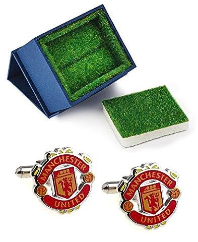 Manchester United FC Manschettenknöpfe mit Gras wie Geschenk-Box Fußball
