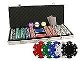 Da Vinci 500de poker avec étui Chips, revendeur, boutons, cartes, Coupe, cartes, cartes et dés