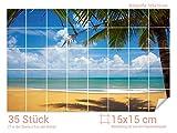 Graz Design 761008_15x15_70 Fliesenaufkleber Meer-Blick mit Palme | Bad-Fliesen mit Fliesenbildern überkleben (Fliesenmaß: 15x15cm (BxH)//Bild: 105x70cm (BxH))