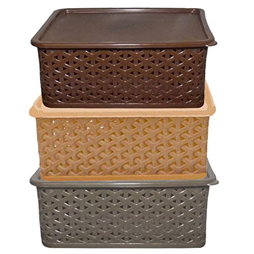 Kuber Industries Plastic 3 Pieces Big Size Multipurpose Solitaire Storage Basket with Lid (Multi) -CTLTC10908