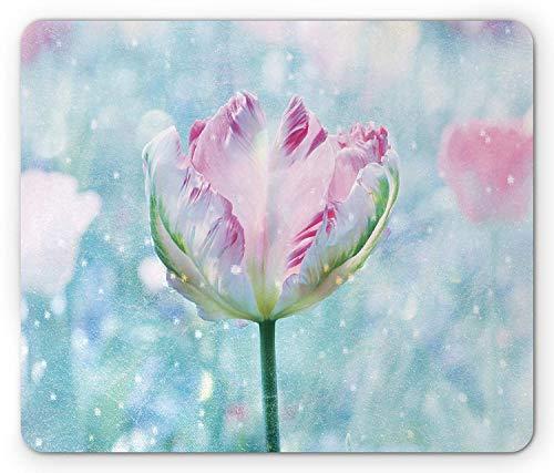 ASKSSD Floral Mouse Pad, Flower Arrangements Theme Parrot Tulip with Snowflakes Digital Print, Standard Size Rectangle Non-Slip Rubber Mousepad, Pink Purple and White Digitale Tulip