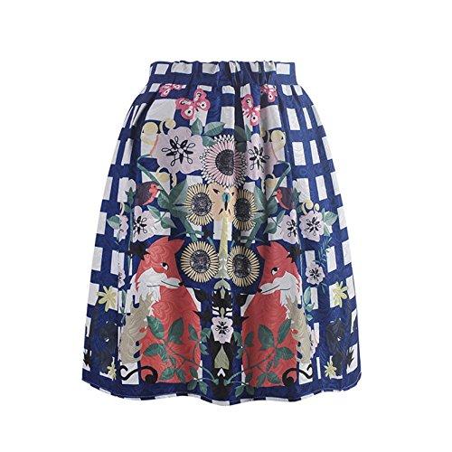 Jiayiqi Femme Taille Haute Vintage Jacquard Flare Plissé Jupe Midi Swing Tournesol