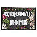 Zenobia Eugen Welcome Home Tapis pour famille, Tapis de sol Tapis Intérieur/extérieur/Tapis de porte d'entrée de salle de bain/vinyle en caoutchouc antidérapant non tissé Mats-24x 40,6cm