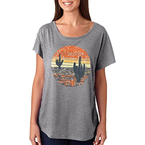 Vintage Cactus Sunset Juniors Dolman T-Shirt Heather SM (Dolman Graphic T-shirt)