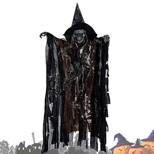 Oceanheart Halloween Decoracion Terror Eléctrico Colgante Fantasma Control de Voz Cabeza de Esqueleto de Broma (Café)