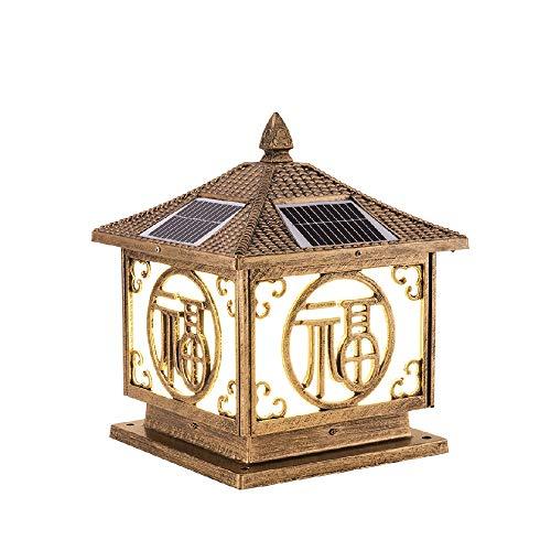 Mpotow Chinesischen Haushalt Super Helle LED Solar Outdoor Glas Laterne Aluminium IP65 wasserdichte Terrassentür Wand Post Lampe Garten Villa Tor Säule Licht (Color : Bronze, Größe : L-40cm) -