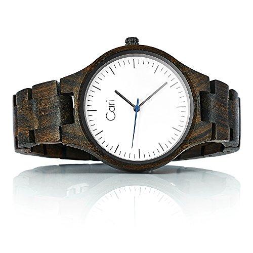 Cari Damen und Herren Holz Armbanduhr Berlin Sandelholz Braun BE-060356