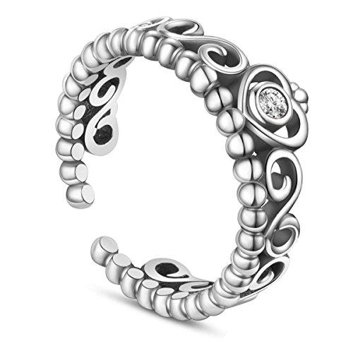 Orecchini 925argento anello corona con zirconia AAA argento 17 regolabile per donna