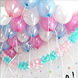 #9: TOYXE® 40024 TOY BALLOONS FOR BIRTHDAY, ANNIVERSARY, BABY SHOWER, OFFICE PARTY DECORATION METALLIC HD PINK, WHITE & LIGHT BLUE (PACK OF 50)