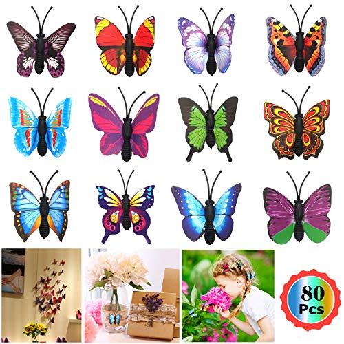 3D Schmetterlinge Wanddeko Aufkleber Abziehbilder,Kunststoff Schmetterling Dekorationen Schmetterling Aufkleber Wandsticker für Kinderzimmer Küche Kühlschrank Partydekorationen