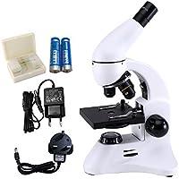USCAMEL Microscope Adulte PortableOptique-Biologique, avec des Lamelles LED 400X et des Coupes Biotiques, pour L'apprentissage de L'expérience des Enfant