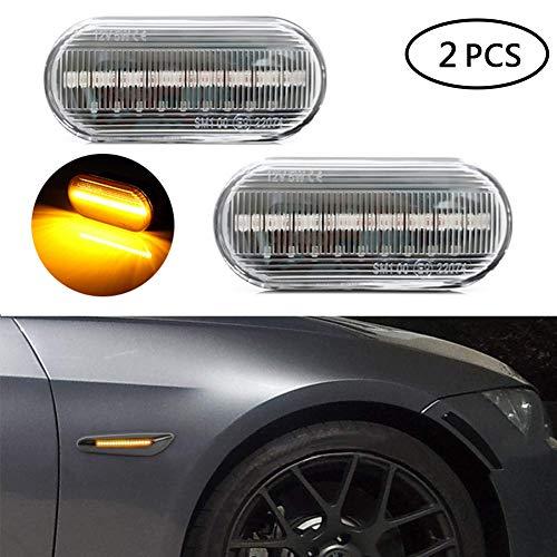 2 Stk LED Seitenmarkierungsleuchten, UMIWE Rauchglas LED-Seitenmarkierungsleuchte, LED-Begrenzungsleuchte, Passend für F-ord V-olkswagen S-koda S-EAT V-W - Lampe Fließendem Wasser (klar)