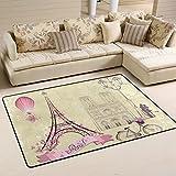 BENNIGIRY Rutschfeste Bereich Teppiche Home Dekor, Stilvolle Paris Eiffelturm Fußmatte Wohnzimmer Schlafzimmer Teppiche Fußmatten 59,9x 39,9cm, Polyester, Multi, 72 x 48 inch