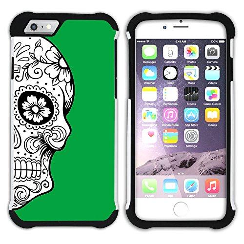 Graphic4You Mexikanische Zuckerschädel Tod (Wasserblau) Hart + Weiche Kratzfeste Hülle Case Schale Tasche Schutzhülle für Apple iPhone 6 Plus / 6S Plus Grün