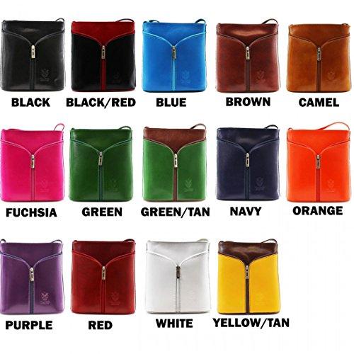 H&G Vera Pelle Mini italienischen Echtleder Cross-Body-Tasche Handtasche (schwarz) Fuchsia