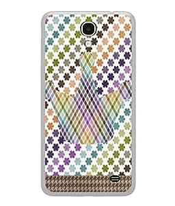 PrintVisa Designer Back Case Cover for Samsung Galaxy Mega 2 SM-G750H (Zig Zag Flowers Crown Check Design)