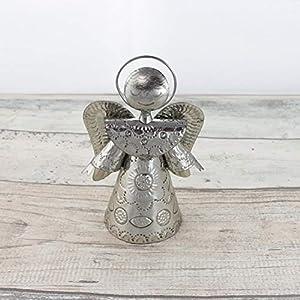 Engel Weihnachtsdeko 15cm - silber | Deko-Figur Engel aus Blech | Handarbeit | Deko Figur | Weihnachten Figur Dekoration